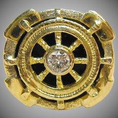 Men's Nautical Ships Wheel Diamond Ring in 14K Yellow Gold