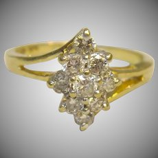 Cluster Diamond Ring in 14K Yellow Gold