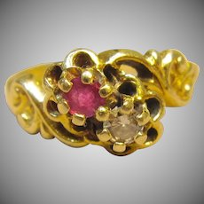Antique Floral Diamond & Ruby Ring in 14K Yellow Gold