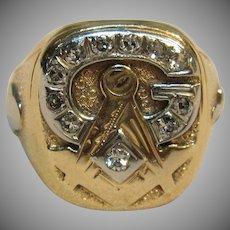 Men's Vintage Mason Ring 10K Yellow & White Gold