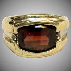 Men's Garnet Statement Ring in 10K Yellow Gold