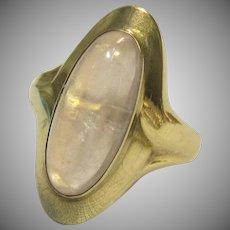 Vintage Rose Quartz Cabochon Ring in 333 Gold