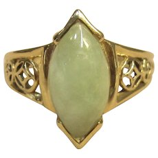 Vintage Jade Ring in 14K Yellow Gold