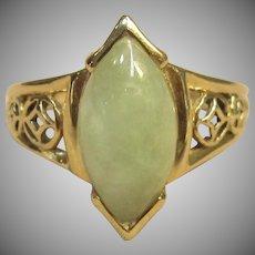 Vintage Jade Ring in 14K Yellow Gold
