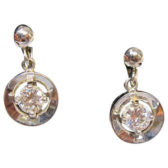 Dazzling Diamond Dangle Earrings in 14K White Gold Clip Earrings