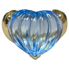 Stunning Blue Topaz Ring in Solid 14K Yellow Gold