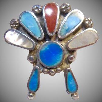 Gorgeous Native American Headdress Multi Stone Ring