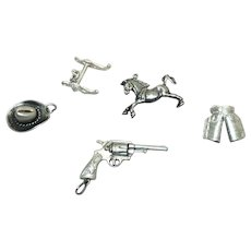 Vintage Sterling Silver Western Charms