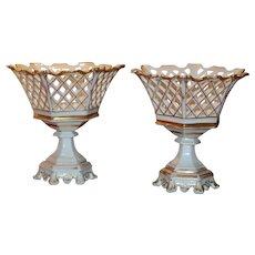 PAIR Early Paris Hexagonal Pierced Basket Corbeilles