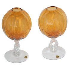 Pair Cambridge Amber Glass Melon Ribbed Stemmed Ivy Bowl