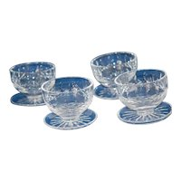 Set 4 Waterford Lismore Dessert Compote w Saucers