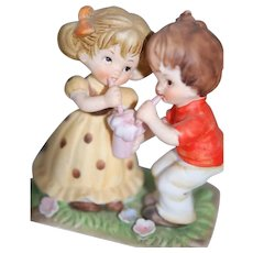 Vintage Boy & Girl Decorative Handpainted Bisque Figurine