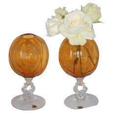 PAIR Cambridge Amber Glass Melon Ribbed Stemmed Ivy Rose Bowl Vases