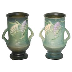 """Summer Clean Out: PAIR Roseville Freesia 9"""" Vases, Pristine"""