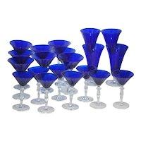 Set of 20 Cobalt Blue Stemware Glasses