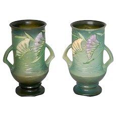 """Pristine PAIR Roseville Freesia 9"""" Vases"""