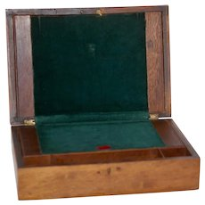19th Century Working Wood Lap Desk Box Emerald Green Velvet Interior