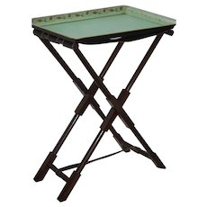 """Folding 36"""" Tall Leather Strap Stand w 30"""" Wide Tole Tray"""