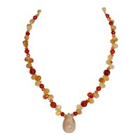 Genuine Carnelian Necklace w Lg Faceted Pendant SRP $225