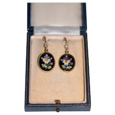 Art Nouveau 14K Diamond Hnd Pt Enamel Pansy Earrings