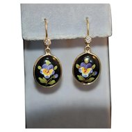 Art Nouveau 14K Diamond Enamel Pansy Earrings