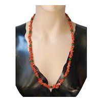"""Genuine Jade & Coral Necklace 29"""" Free Shipping"""