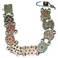 Victorian 14K Gem Slide Bracelet Ruby Sapphire Coral Turq Pearl A++