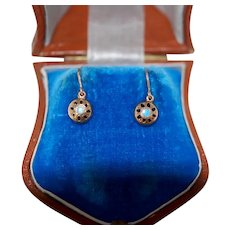 14K Antique Enamel Earrings