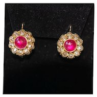 Late Georgian Early Victorian 14K Rose Cut Nat'l Ruby & Rose Cut Dia Earrings Enamel Reverse