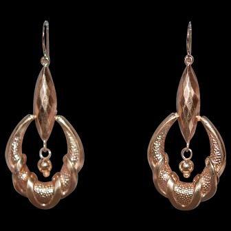 Upcycled 9 ct Victorian Earring w 14K Handmade Shepherd's Hook