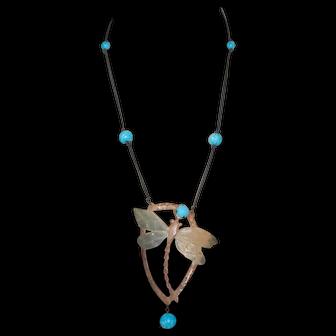 Art Nouveau Signed Bonte Dragonfly Horn Turquoise Pendant Necklace