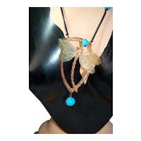 Genuine Art Nou Museum Qual Bonte Sign Dragonfly Horn Turq Necklace