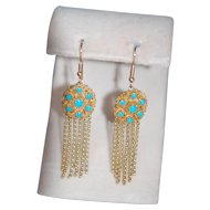 Victorian French Cannetille 15ct Persian Turquoise Tassel Fringe Earrings