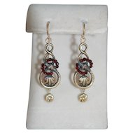 Victorian 9ct Garnet Snake Eternal Love Earrings