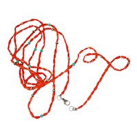 """53"""" Coral Turquoise Necklace Chain"""