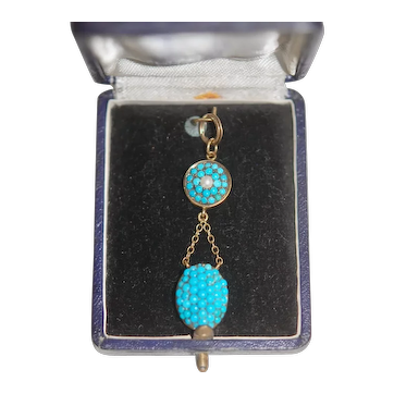 Antique 9ct Turquoise Poison Double Pendant