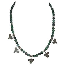 Upcycled Ruby in Zoisite Necklace w Ethnic Silver Beads