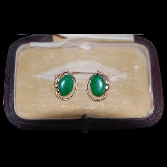 Grade A Undyed 14K Jadeite Jade Earrings
