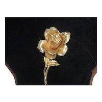 Gold Tone Rose Pin Brooch w Rhinestone Center