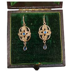 Antique 9ct Sapphire Seed Pearl Earrings