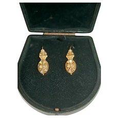"""Victorian 14K Diamond Swallow Bird """"love"""" Earrings"""