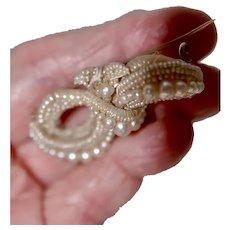 Georgian Seed Pearl MOP Brooch Pin