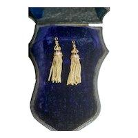 MATCHED PAIR 9ct Enamel Victorian Tassels EX COND
