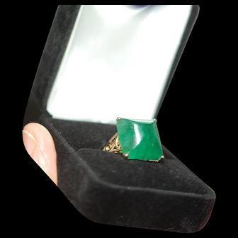 RARE 15ct Sugarloaf Cab Emerald Ring 14K Art Deco Mounting