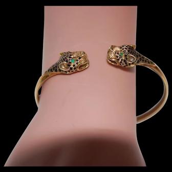 14K Emerald Enamel Leopard Head Bangle Bracelet