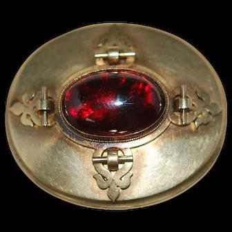 Huge Victorian Almandine Garnet Cabochon 14KT Locket Pendant Brooch