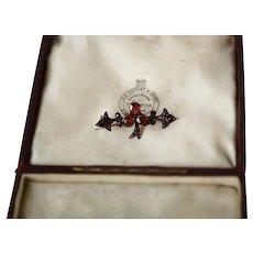 "Antique 9ct Victorian Rose Cut Garnet ""Clover"" Pin Brooch"
