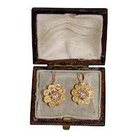 Victorian 18ct Earring w Mine Cut Diamond