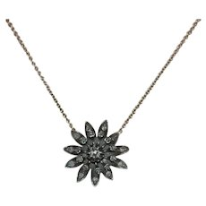 Victorian Rose Cut Diamond Pendand 14K YG Chain Necklace