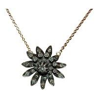 Victorian Rose Cut Diamond Pendand 14K YG Chain Necklace